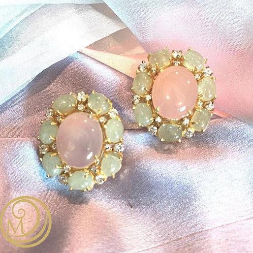 Rose quartz and Prenite, candy coloured earrings