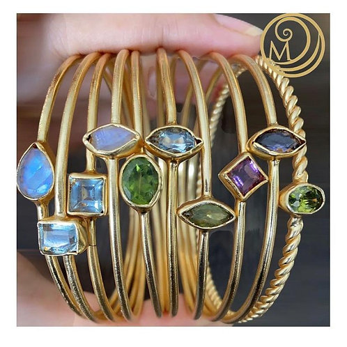 4 stack bangles set with multicoloured stones