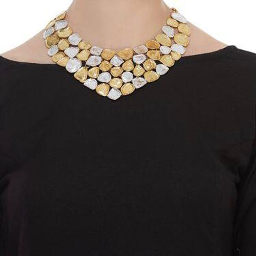Large statement, two-tone necklace