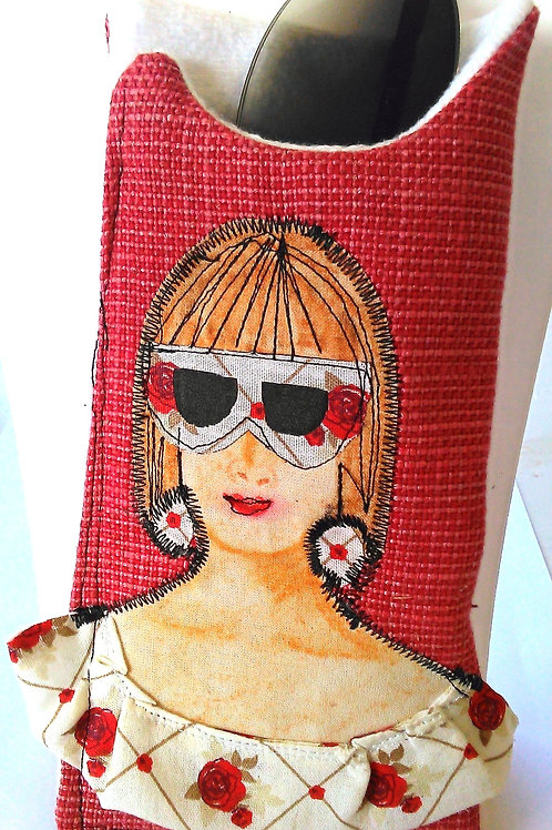 Sunglasses case hand made from rescued fabric