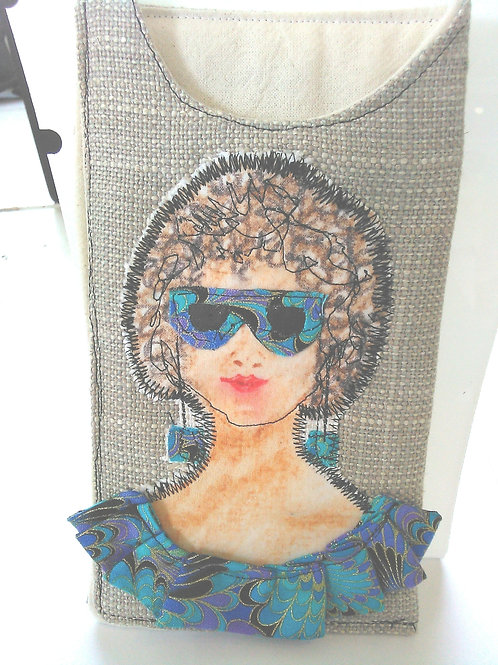 Sunglasses case made from rescued fabric.
