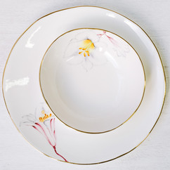 Pink and white Lilies bone china dinner plate and soup bowl