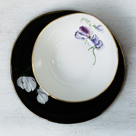 Sweet Peas breakfast plate and cereal bowl