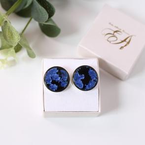 Erika Albrecht Ceramics handmade, black porcelain, blue cufflinks.JPG