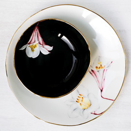 Pink Lilies dinner plate and soup bowl