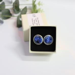 Erika Albrecht Ceramics, handmade,porcelain,Blue cufflinks.JPG