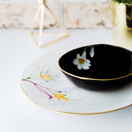 Pink and white Lilies dinner plate and soup bowl