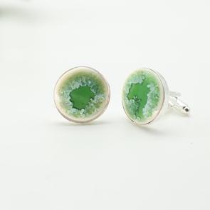 Erika Albrecht Ceramics handmade, porcelain cufflinks, green.JPG