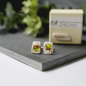 ErikaAbrechtCeramics, handmade, porcelain cufflinks, handpainted spider.jpg