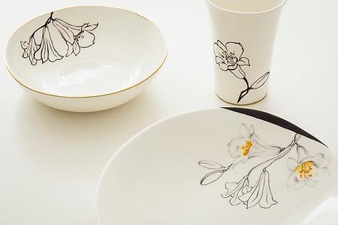 Lillies graphic design plates & beaker