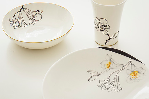 Lillies graphic design plates & beaker