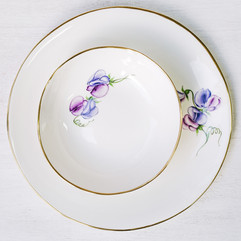 Purple Sweet Peas on white bone china dinner plate & soup bowl