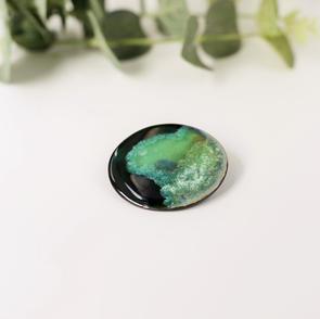 Erika Albrtecht Ceramics green brooch , black porcelain.JPG