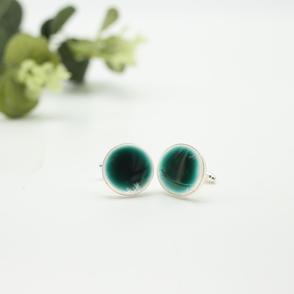 Erika Albrecht Ceramics handmade, porcelain cufflinks, turquoise.JPG