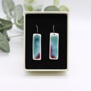 Erika Albrecht Ceramics handmade porcelain earrings, turquoise red.JPG