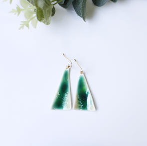 Erika AlbrechtCeramics handmade porcelain earrings, green.JPG