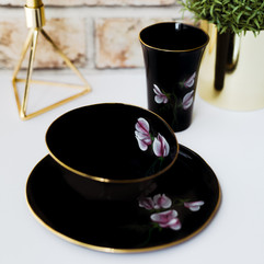 Pink Peas on black porcelain breakfast set