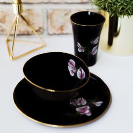 Pink Peas on black porcelain breakfast set