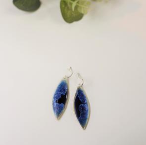Erika Albrecht Ceramics handmade porcelain earrings, dark blue.JPG