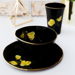 Yellow Peas on black porcelain breakfast set