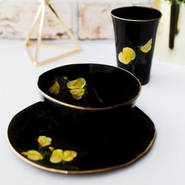 Yellow Peas on black porcelain breakfast set