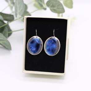 Erika Albrecht Ceramics handmade porcelain earrings, deep blue.JPG