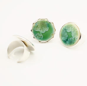 Erika Albrecht Ceramics handmade, porcelain rings, light green.JPG