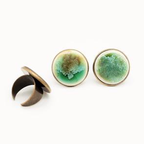 Erika Albrecht Ceramics handmade, porcelain rings, green, brasss.JPG