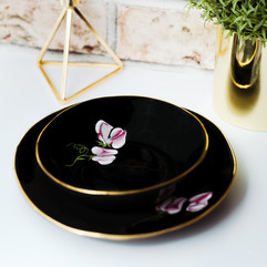 Pink Sweet Peas on black porcelain dinner plate & soup bowl