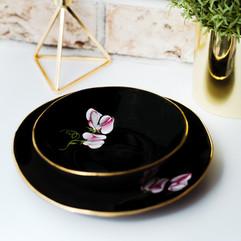 Pink Sweet Peas on black porcelain dinner plate & soup bowl