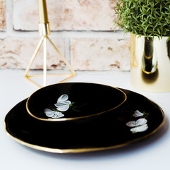 White Sweet Peas on black porcelain dinner plate & soup bowl
