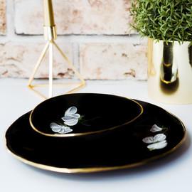 White Sweet Peas on black porcelain dinner plate & soup bowl