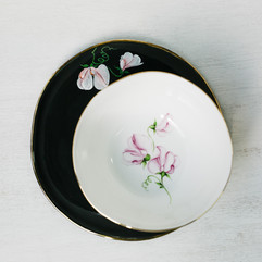 Pink Sweet Peas breakfast plate and cereal bowl