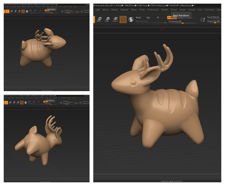 Clay Deer Figurine