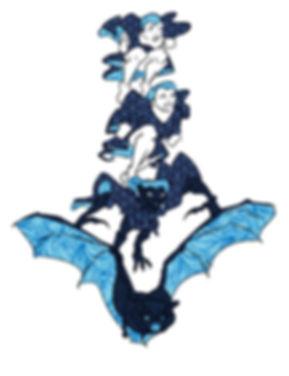 bat girl transformation. A blue girl transforms into a bat mid-flight