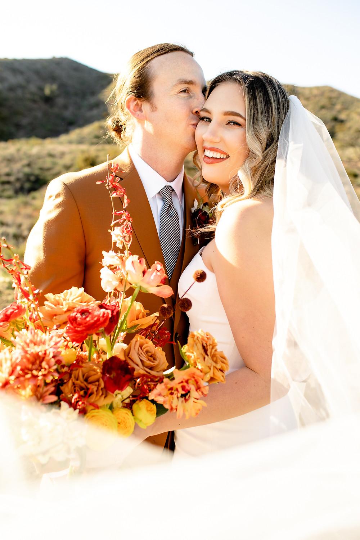 Wedding Cape | Rust Orange Groom's Suit | Pronovias Wedding Dress and Cape |