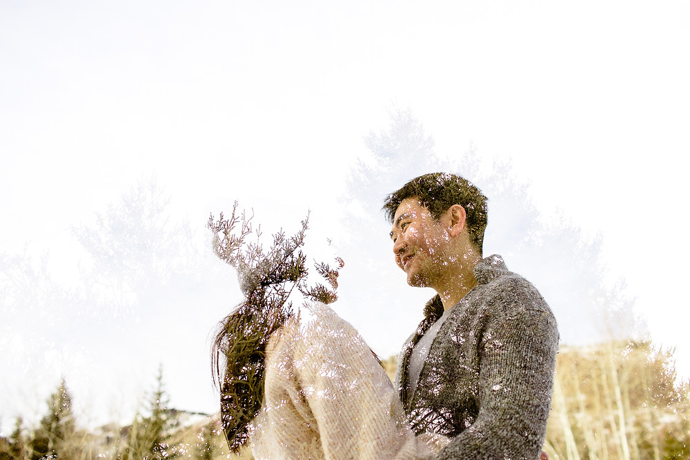double exposure of couple in utah snowy mountains