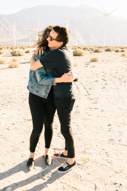couple hugging in Palm Springs desert
