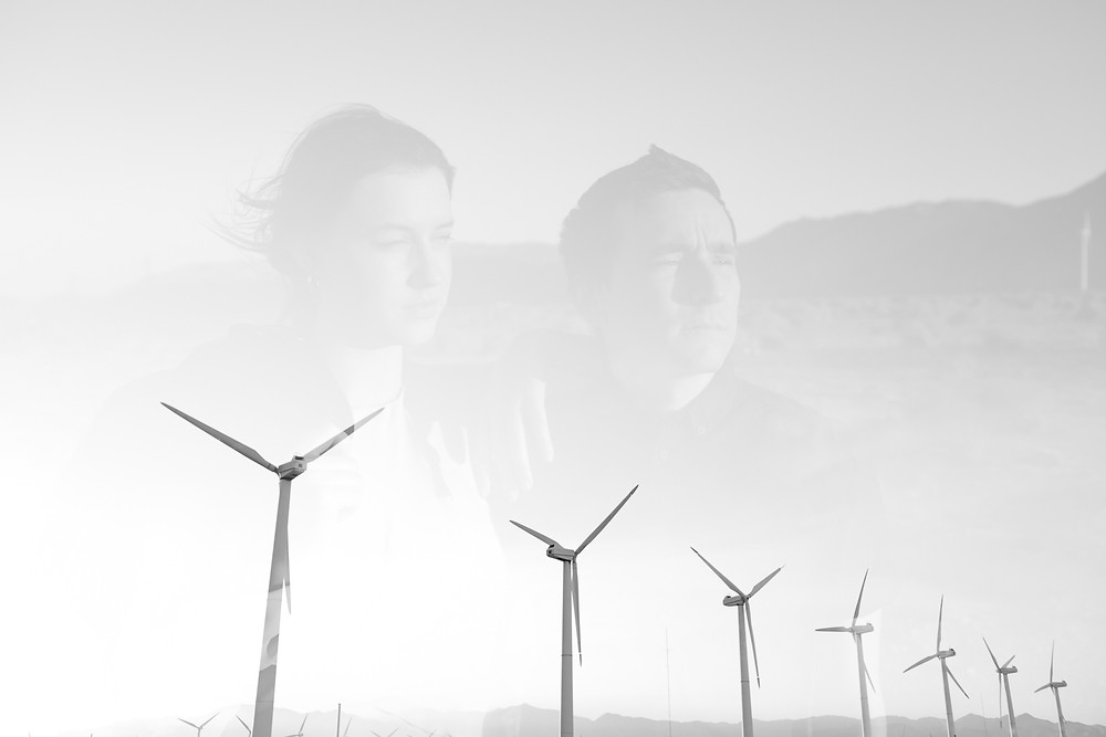 double exposure of couple at palm springs windmills