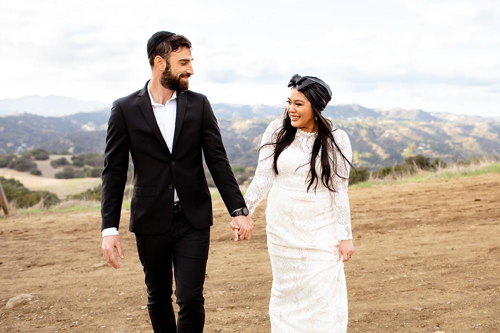 jewish couple's wedding photos in topanga canyon