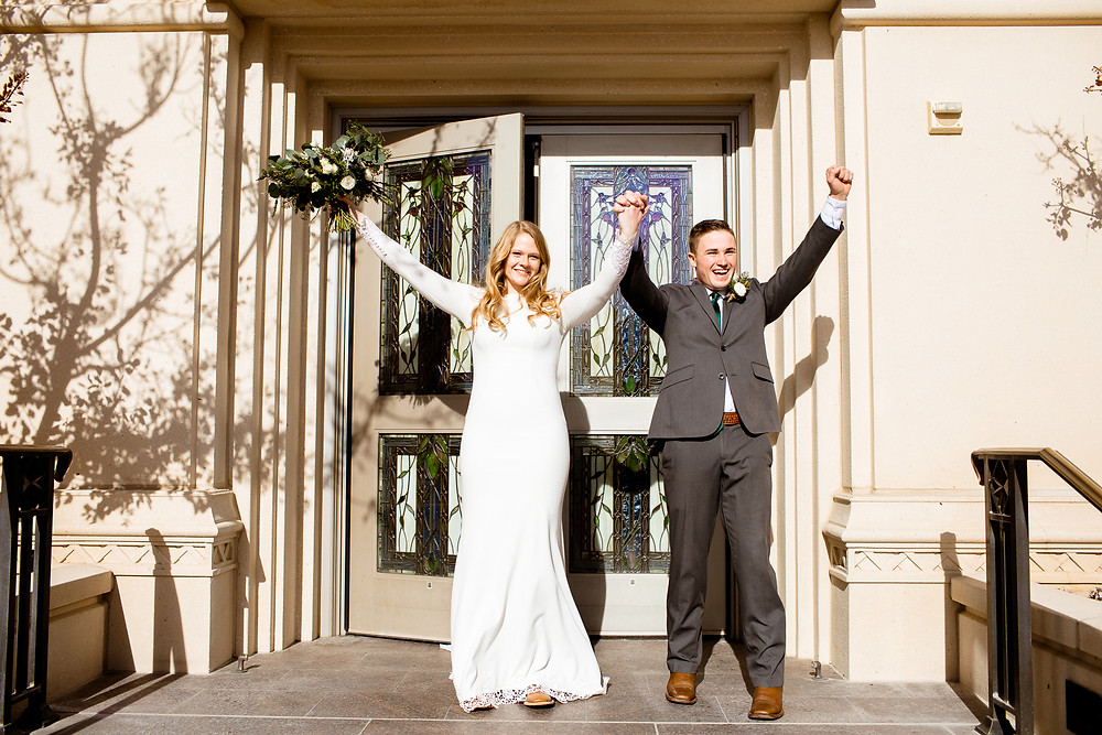 bride and groom exiting the payson utah temple and cheering