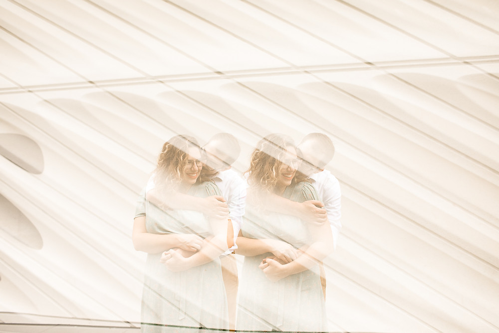 double exposure photo of engaged couple in downtown los angeles
