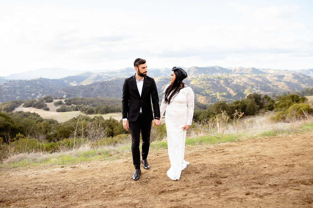 bride and groom looking at each other in topanga canyon
