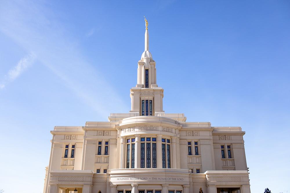 payson utah temple exterior on a sunny, blue sky day