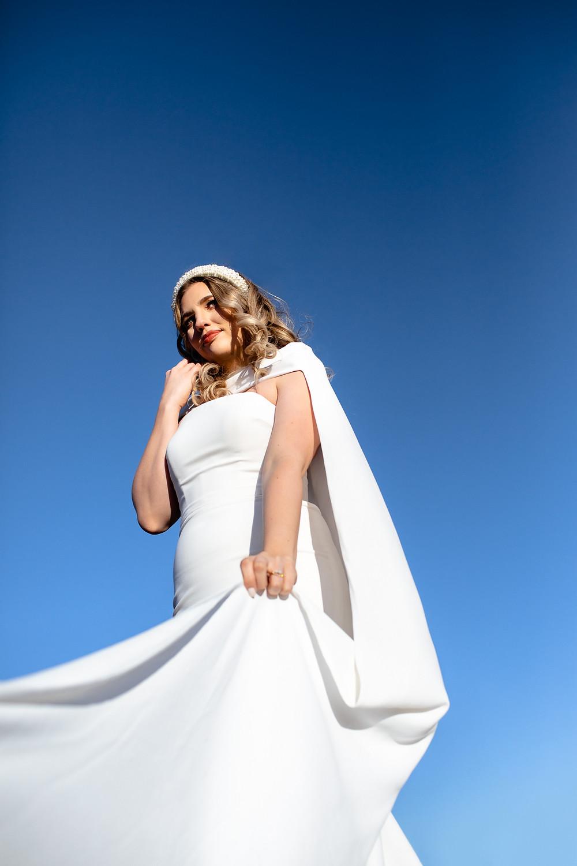 Malibu Elopement | Intimate Wedding Malibu California | Coastal Elopement in Malibu Hills | Backbone Trail | Bold Modern Wedding | Bridal Cape