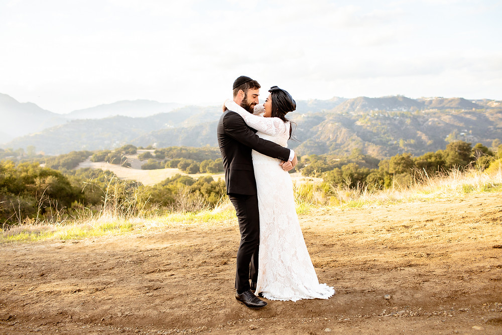 jewish bride and groom in topanga canyon california