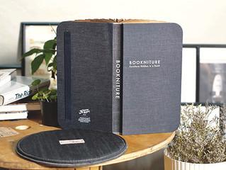 閉じると本のカタチ、開くと家具として機能する「BOOKNITURE」にカイハラデニムの生地を採用した新しいカラーが登場しました。