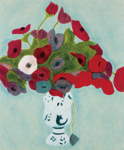 皮耶 / 藍底紅花