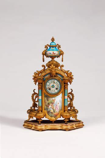法國古董銅鎏金砝瑯鐘