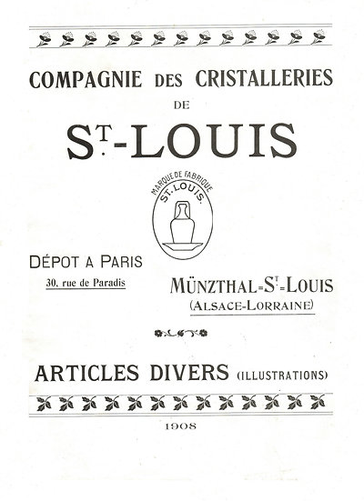 Catalogue des articles en cristal Saint-Louis St Louis crystal